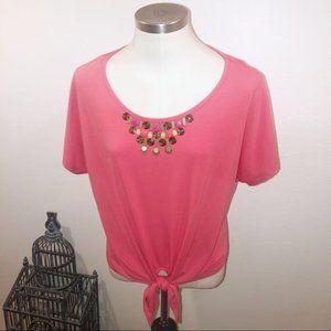 RUBY ROAD CORAL BEADED TIE FRONT BLOUSE PETITE LG